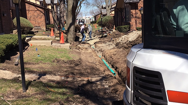 Chicagoland Commercial Concrete Storm Water Drainage